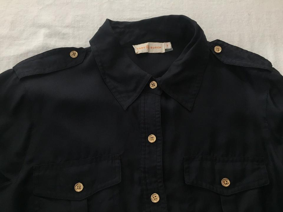 Tory Burch Navy W Silk Button-front Shirt W/Gold Buttons Blouse Size 8 (M)  83% off retail