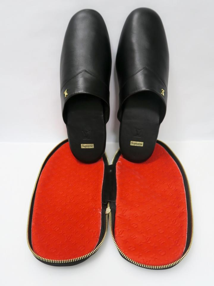 118d34e4f512 Louis Vuitton x Supreme Black Hugh Slippers Sandals Size US 9 ...