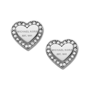 Michael Kors New Michael Kors Heart Crystal Stud Earrings Silver Tone J3597