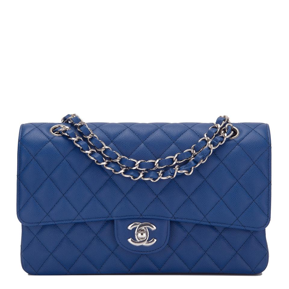 a74aa70245e768 Chanel Classic Flap Dark Quilted Caviar Medium Classic Double Blue ...
