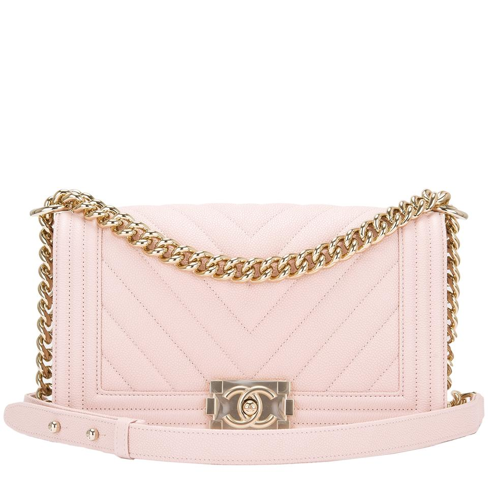 872198daa24321 Chanel Boy Nude Chevron Quilted Caviar Medium Pink Leather Shoulder Bag