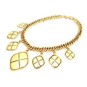 Chanel Vintage Gold Plated Quilted Ties Necklace