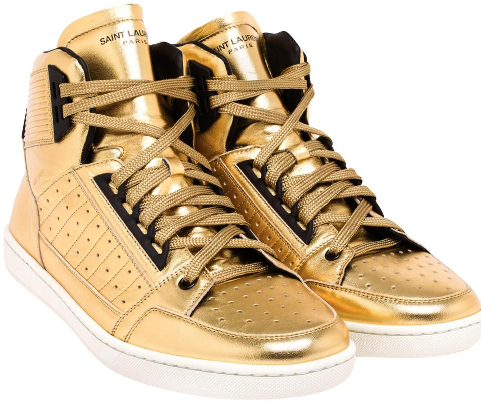 9087133d029 Saint Laurent Gold Leather High Top Lace Up Sneakers Size US 10 ...