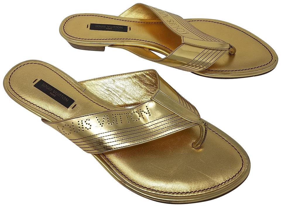 19bbc46f63d1 Louis Vuitton Gold Metallic Leather 7 Sandals Size EU 37 (Approx. US ...