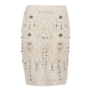 Zara Beaded Vintage Ebellished Embroidered Rhinestone Skirt White