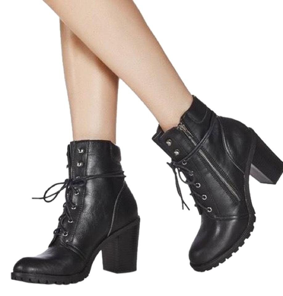 36e6cf9d8d1 JustFab Black Darma - Lace Up Military Boots Booties Size US 9 ...