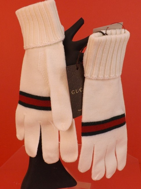 Item - White L Wool Knit Ribbed Cuff Green Red Web Logo Gloves #294732 Men's Jewelry/Accessory