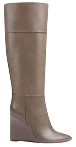 Tory Burch Wedge Leather Tall Grey Boots
