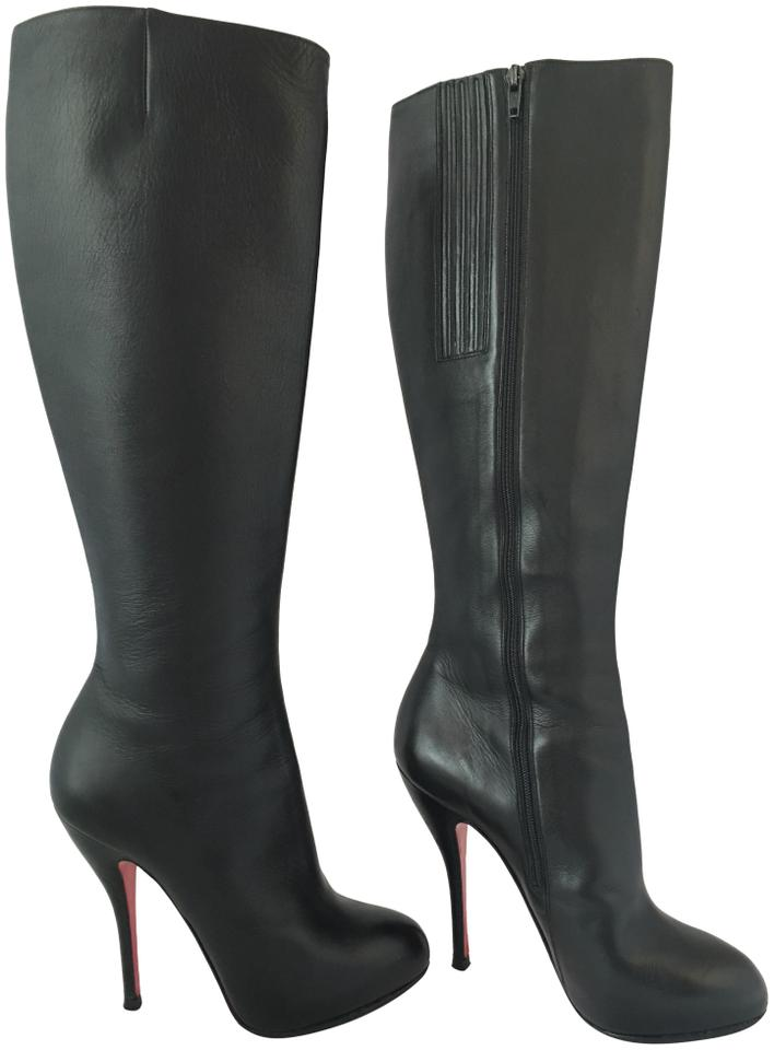 2ad7d9f3e05 Christian Louboutin Thigh High Ankle Over The Knee Heel Black Boots Image 0  ...