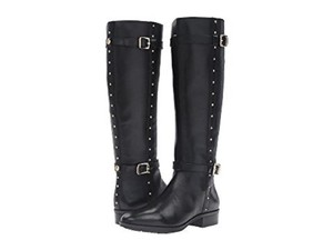 Vince Camuto Leather Studded Tall Riding Black Boots