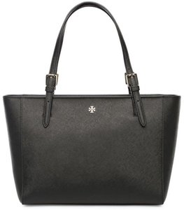 Tory Burch Logo Classy Leather Saffiano Leather Work Tote in Black