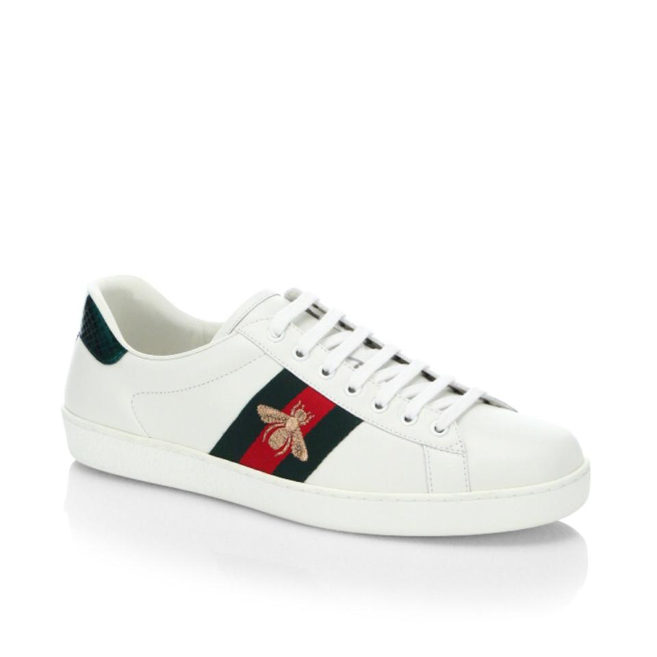 c55222e55 Gucci White New Ace Embroidered Low Top Sneakers Bee Leather 38 Sneakers