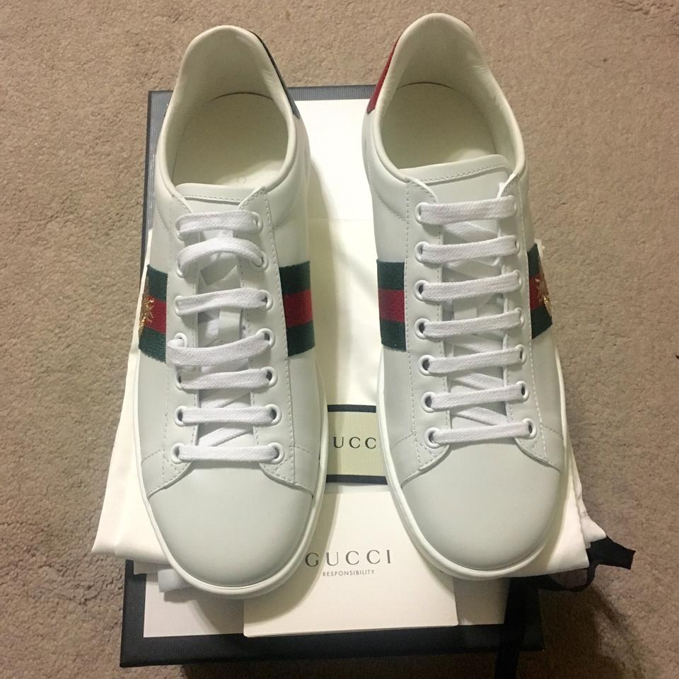 2494e7d3b8d Gucci White New Ace Embroidered Low Top Sneakers Bee Leather 38 ...