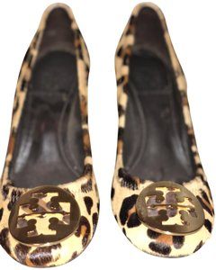Tory Burch #ponyhair#goldbucket brown and black Wedges