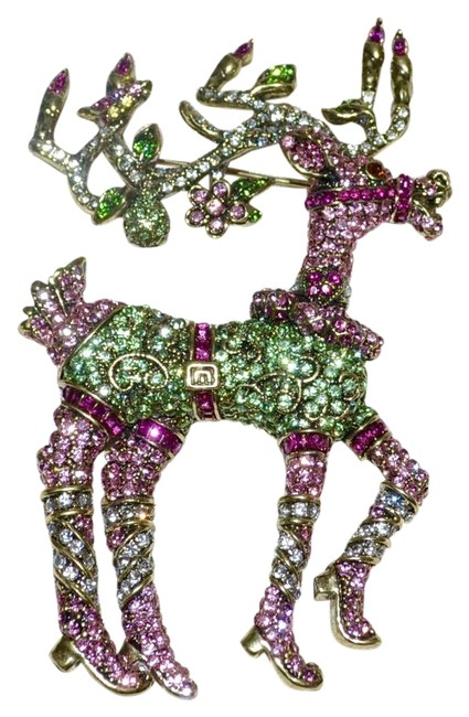 Item - Pink and Green Dazzling Dancer Reindeer Swarovski Crystal Large Brooch Pin