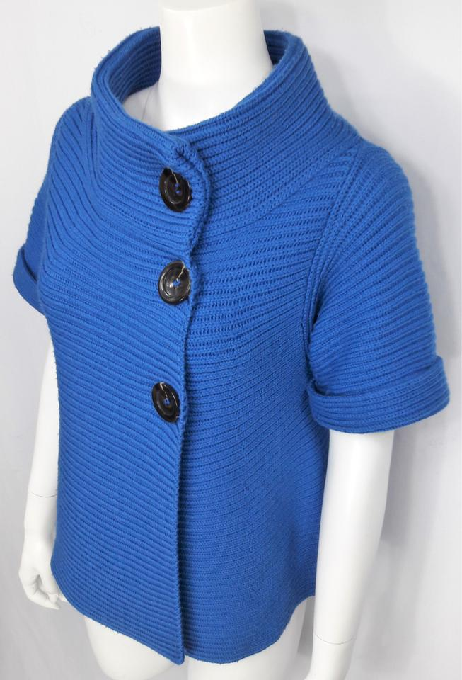 piazza sempione blue ribbed wool ss funnel neck swing cardigan spring jacket