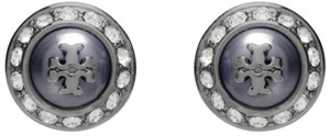 Tory Burch NEW!! TAGS HOLIDAY PEARL ROUND METALLIC RHINESTONE STUD EARRINGS NWT