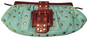Be&D Studded Leather Garbo turquoise Clutch