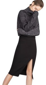 Zara Front Slit Bias Cut Tube Skirt Black