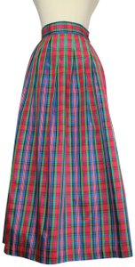 Althuser Holiday Plaid Tartan Check Maxi Skirt Red Multi