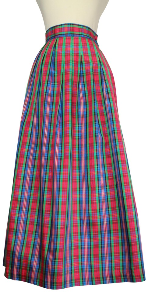 89a265d8d Red Multi High Waisted Plaid Tartan Check Holiday Long Skirt Size 6 ...