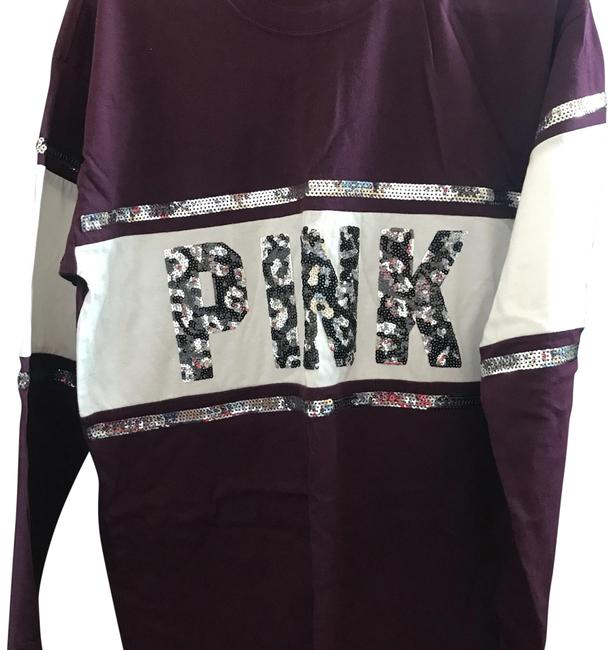 Item - XS Victorias Secret Bling Crew Ling Sleeve Shirt Maroon Red Sweater