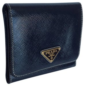 Prada Saffiano Leather navy Trifold with a coin compartment