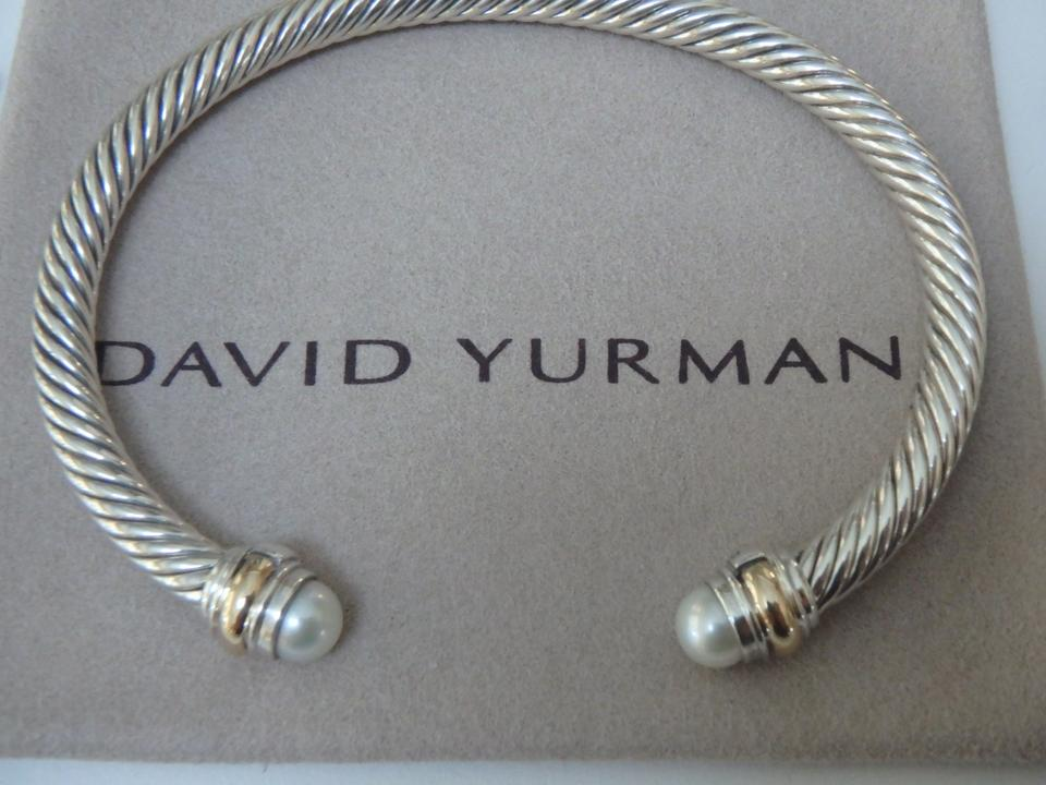 David Yurman Silver Gold And White 5mm Cable Classics With Pearl In