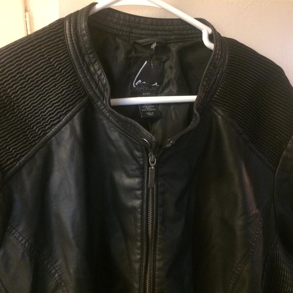 1ef811fe16d3a Lane Bryant Black New Faux Leather Cinched 22 24 Jacket Size 22 ...