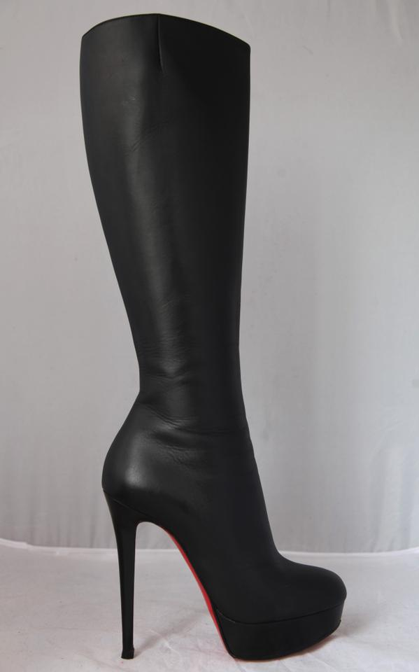 41e5b1cb23a Christian Louboutin Black Bianca Botta Leather Platform Knee High Heel Lady  Alti Red Sole Boots/Booties Size EU 38 (Approx. US 8) Regular (M, B)