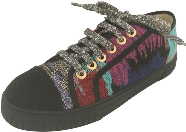 Chanel Multi/Black 17c Multicolor Lurex Tweed Lace Up Low Top Trainer Sneakers Size EU 38 (Approx. US 8) Regular (M, B) Chanel Multi/Black 17c Multicolor Lurex Tweed Lace Up Low Top Trainer Sneakers Size EU 38 (Approx. US 8) Regular (M, B) Image 1