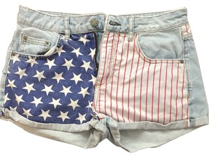 Topshop Shorts Light Wash/print