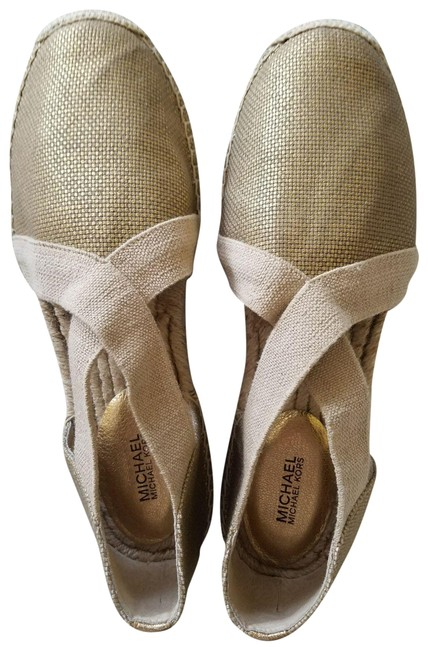 Item - Gold Leather and Canvas Combo Flats Size US 10 Regular (M, B)