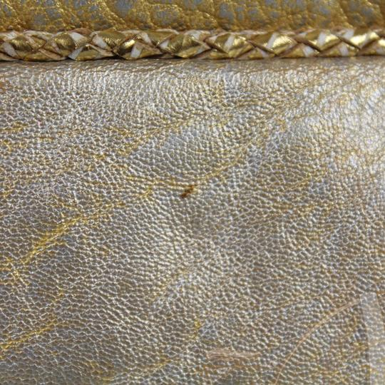 Fendi Metallic Leather Large Knit Silver Tote in Gold