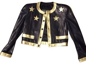 Escada Black, gold Leather Jacket