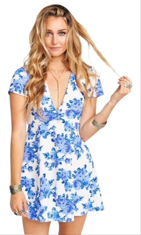 show me your mumu blue and white ibiza short casual dress size 4 s tradesy. Black Bedroom Furniture Sets. Home Design Ideas