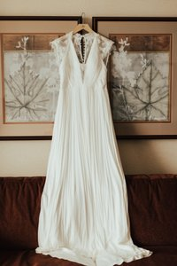 BHLDN Ivory Lace Silk Tulle Fantasia Gown Feminine Wedding Dress Size 8 (M)