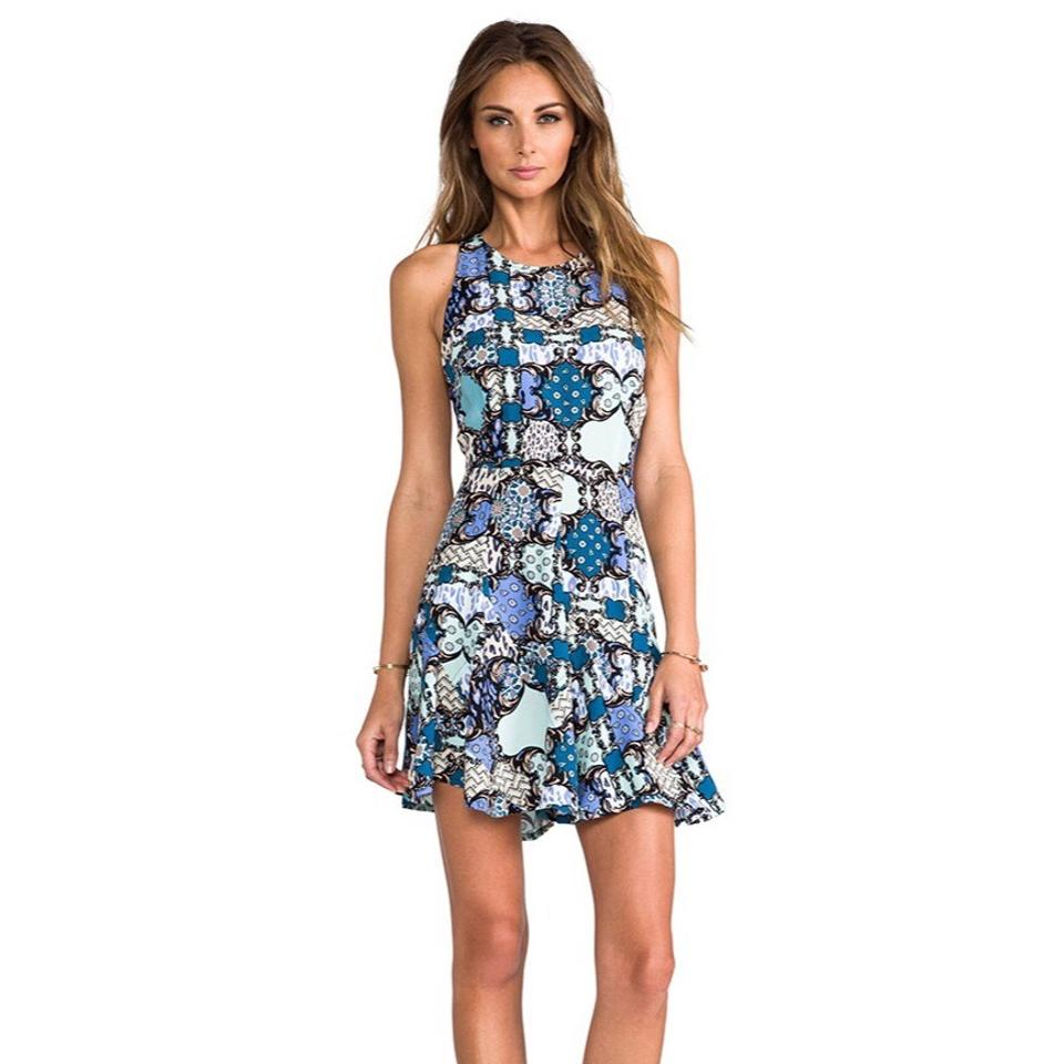 f4a4432c6d Tigerlily Blue Turquoise Cream Multi-colored Baroque Mid-length Short  Casual Dress Size 6 (S) 52% off retail