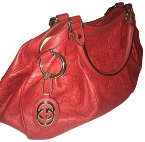 Gucci Leather Monogram Satchel in Red