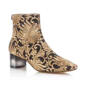 Tory Burch Black and Gold Brocade Boots