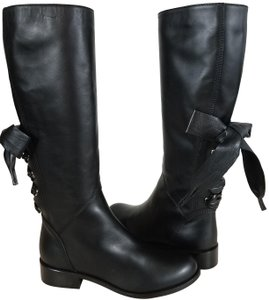 Valentino Soft Napa Leather Ribbon Inside Zip Black Boots