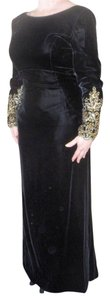 Victor Costa Velvet Gold Embroidery Sweep Train Dress