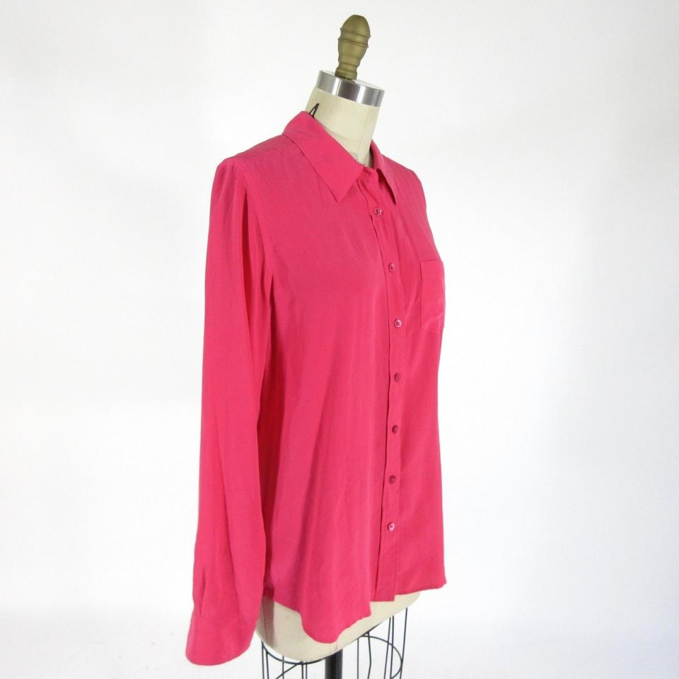 b254ef6f8af02 Equipment Pink Femme Bright Button Up Long Sleeve Silk Shirt Blouse ...