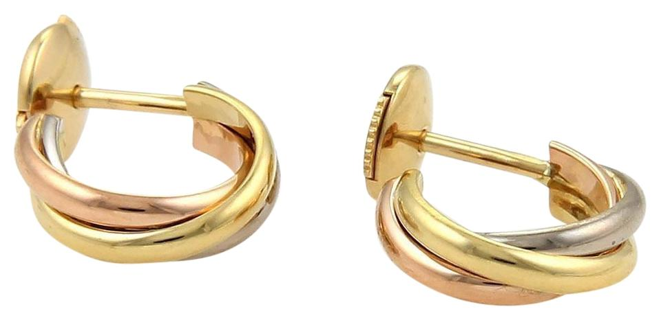 Cartier Trinity 18k Tri Color Gold Small Semi Hoop Earrings