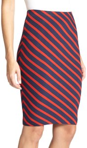 Karina Grimaldi Pencil Stretchy Waist Band Skirt red navy striped