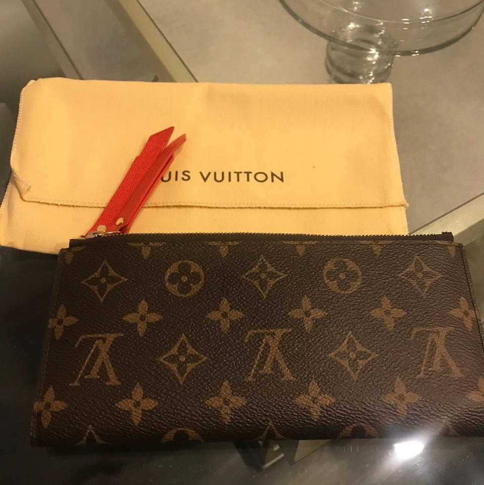 Louis Vuitton Brown Monogram With Red Interior Lining Adele Wallet Tradesy