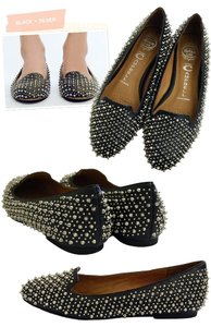 Jeffrey Campbell Spike Black and Silver Flats