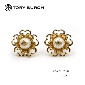 "Tory Burch NEW Tory Burch Crystal Pearl Gold Plate ""T"" Logo Studs Earrings"