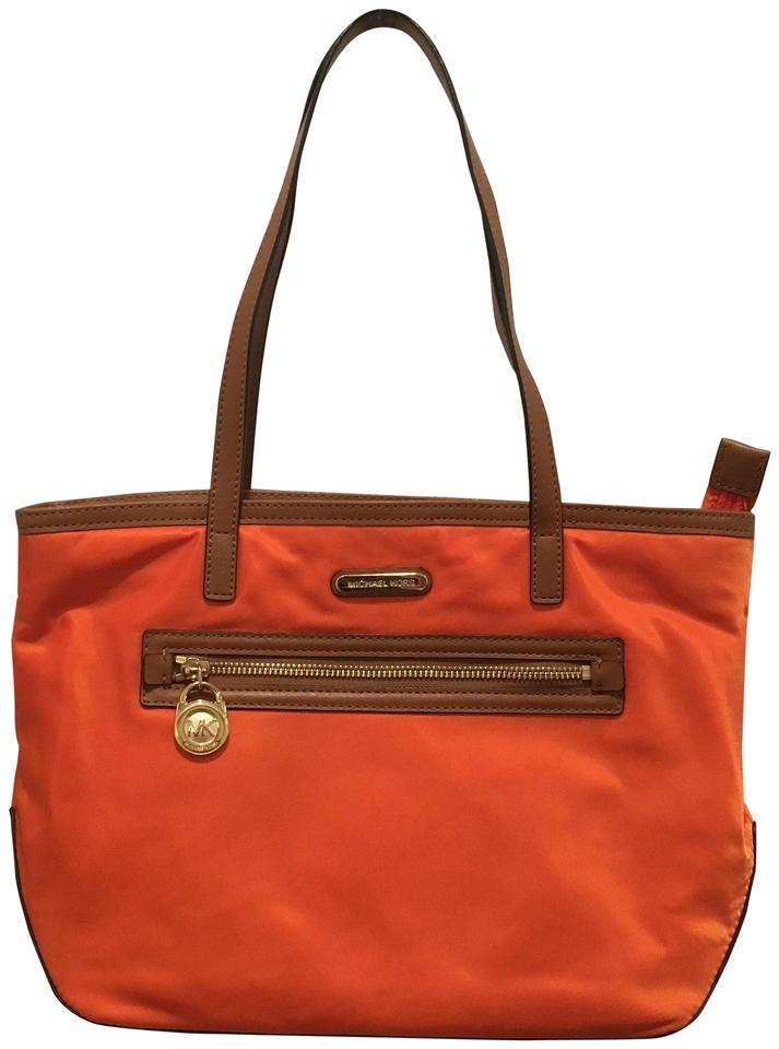 Michael Kors Nylon Tote In Orange