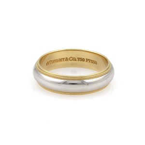 Tiffany & Co. Platinum 18k Yellow Gold 6mm Wide Dome Band Ring Size 10